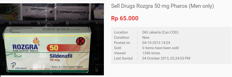 Rozgra recommended dosage for an adult is 1 pill 50mgs per day